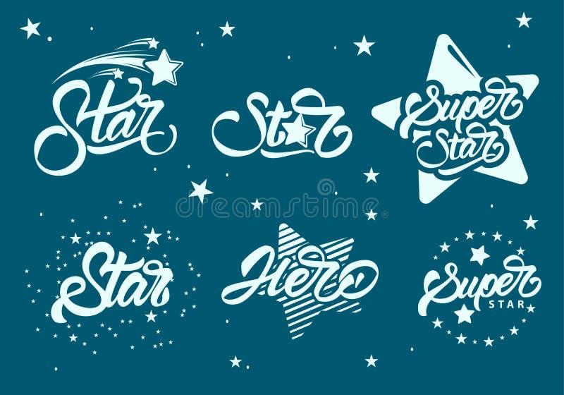 Définir ou collectionner des logos super étoiles avec lettrage. h?ros. Conception d'illustration de vecteur illustration de vecteur