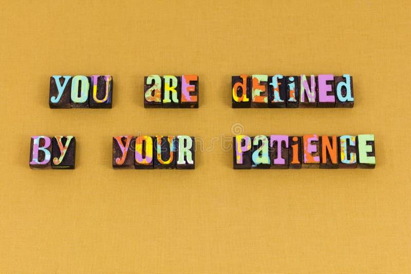 Définissez la future typographie de valeurs de la patience de but photos libres de droits
