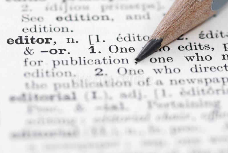 Définition d'éditeur en dictionnaire anglais. photo stock