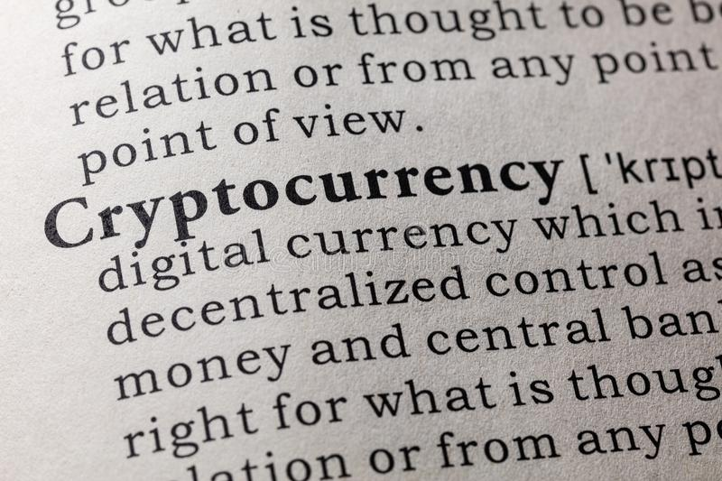 Définition de cryptocurrency photo stock