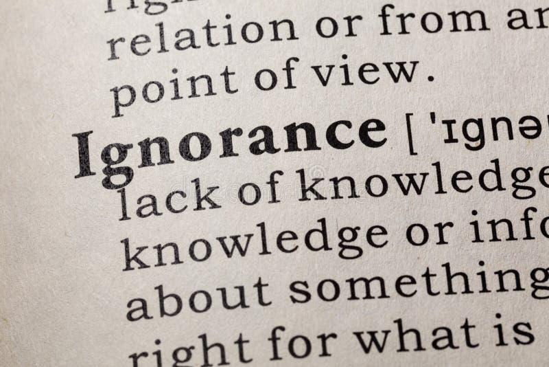 Définition de l'ignorance image libre de droits