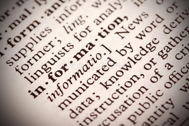 Définition de l'information image libre de droits