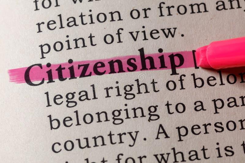 Définition de la citoyenneté photo stock