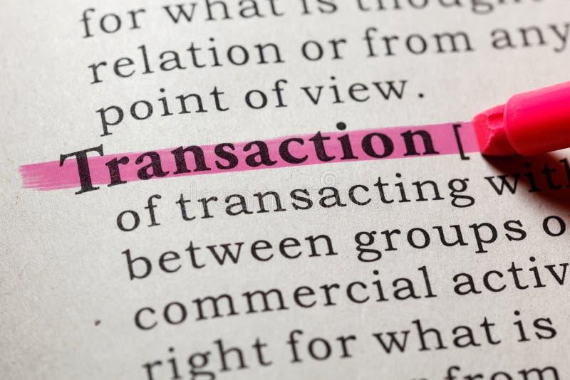 Définition de transaction images libres de droits