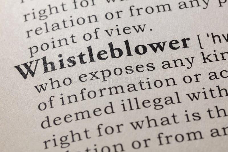 Définition de whistleblower photographie stock libre de droits