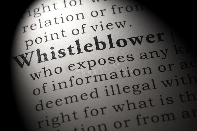 Définition de whistleblower images libres de droits