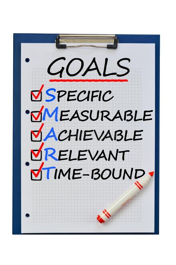 Définition futée de buts pour réaliser des objectifs de plan d'action photo stock