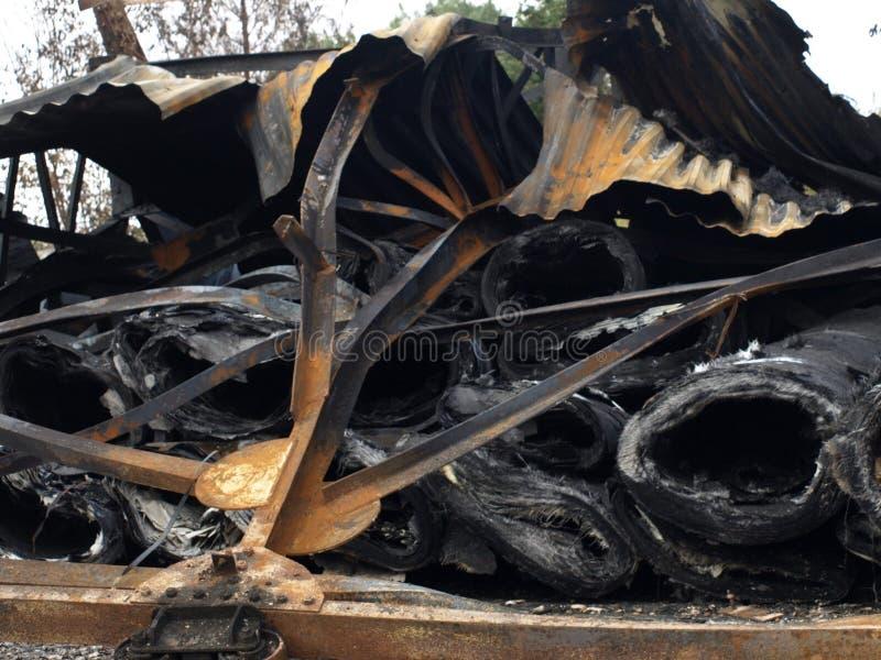 Dégâts causés par le feu images stock