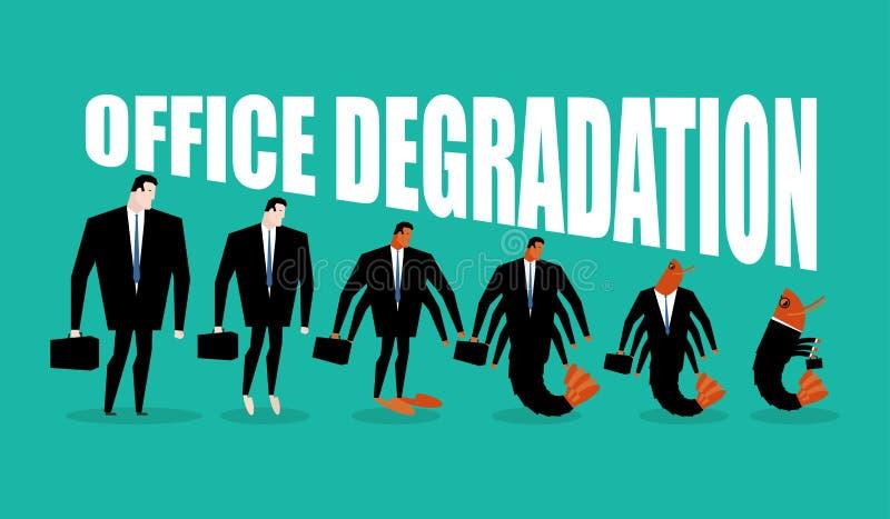 Dégradation de bureau Le directeur se transforme en plancton de bureau Tran d'homme illustration stock