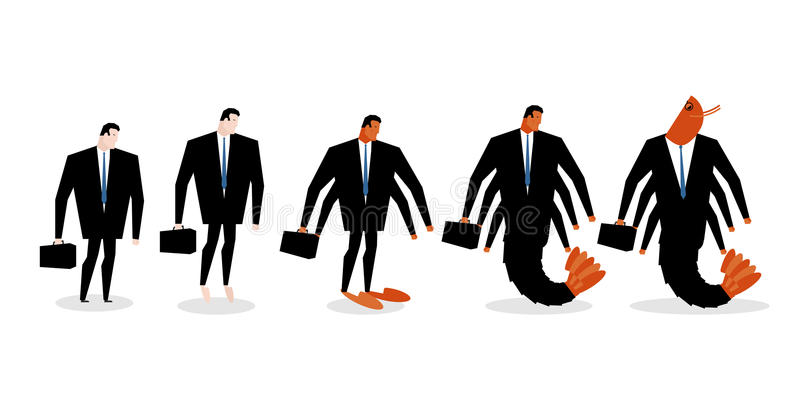 Dégradation de bureau Le directeur se transforme en plancton de bureau Tran d'homme illustration libre de droits