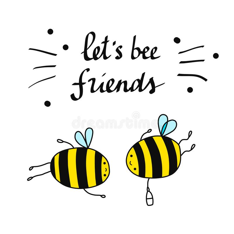 Déjenos ejemplo hermoso de los amigos de la abeja con poner letras a abejas y a amistad stock de ilustración