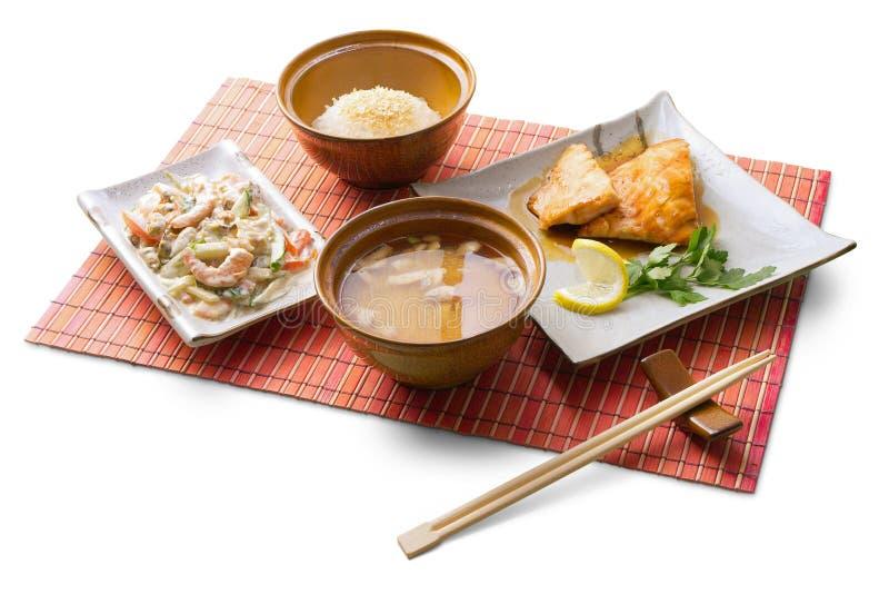 déjeuner d'affaires de 6 Asiatiques photographie stock