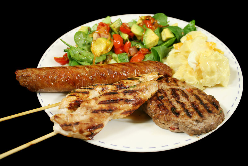 Download Déjeuner de BBQ image stock. Image du viande, potato, frais - 8672105