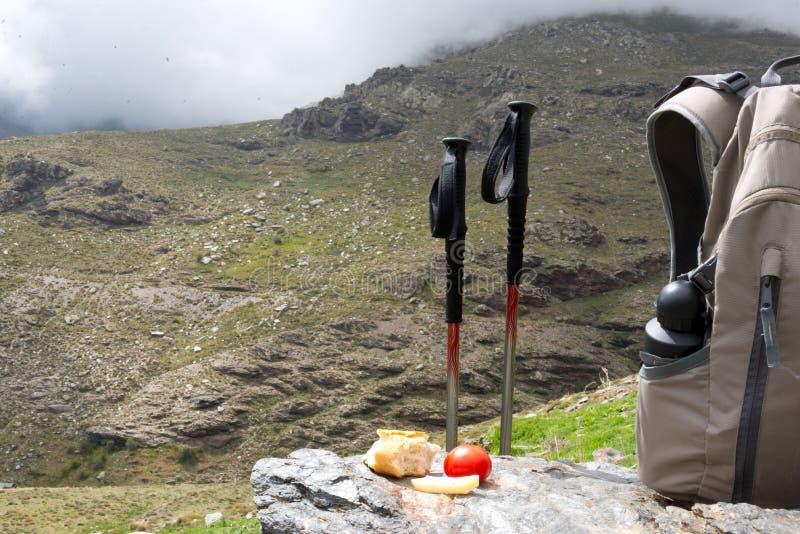 Déjeuner de trekking à la sierra Nevada, Espagne images stock