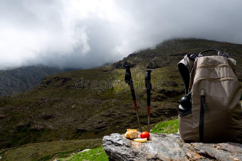 Déjeuner de trekking à la sierra Nevada, Espagne photographie stock