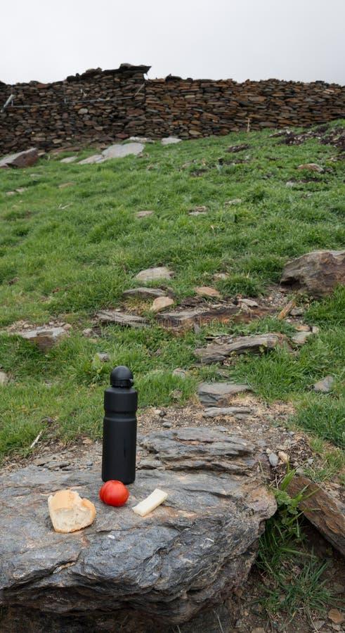 Déjeuner de trekking à la sierra Nevada, Espagne images libres de droits