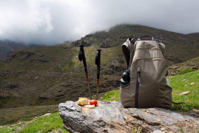 Déjeuner de trekking à la sierra Nevada, Espagne photos libres de droits