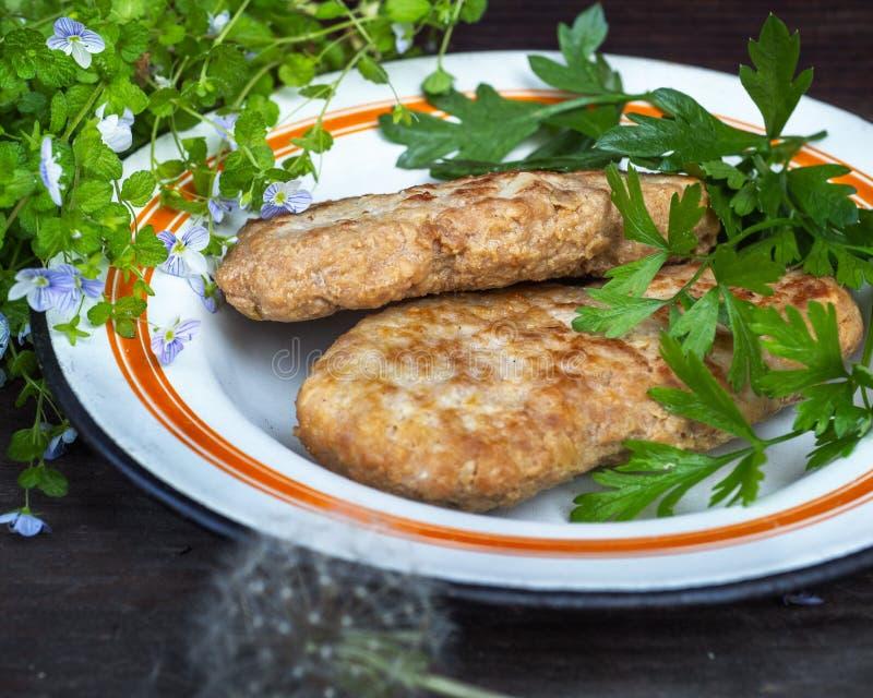 Déjeuner des boulettes de viande sans viande avec les herbes aromatiques vertes d'un plat émaux rond, tir de gamme étroite images stock