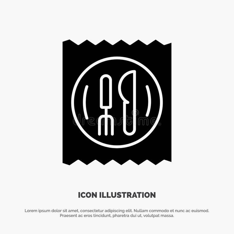 Déjeuner, hôtel, couteau, icône noire solide de Glyph de Tableau illustration de vecteur
