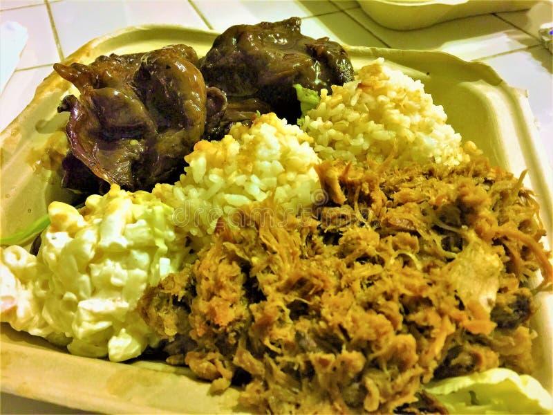 Déjeuner hawaïen de plat de porc de Kalua images libres de droits