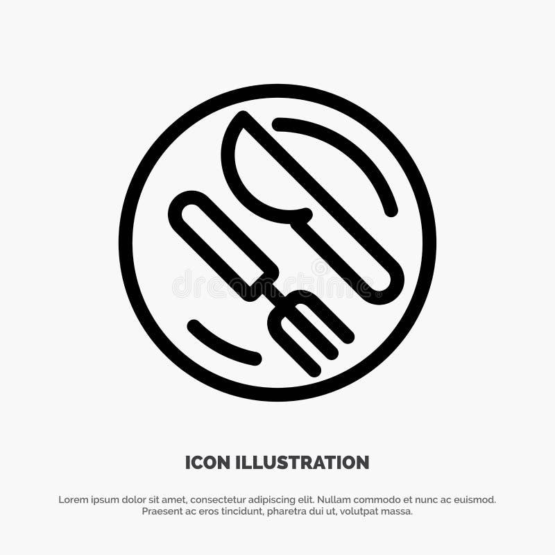 Déjeuner, plat, cuillère, ligne icône de vecteur de couteau illustration de vecteur