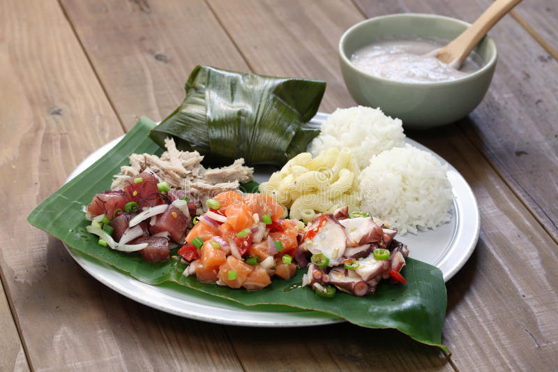 Déjeuner traditionnel hawaïen de plat photo libre de droits