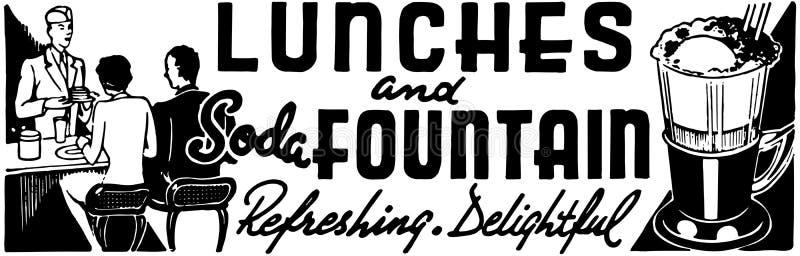 Déjeuners et fontaine de soude illustration libre de droits