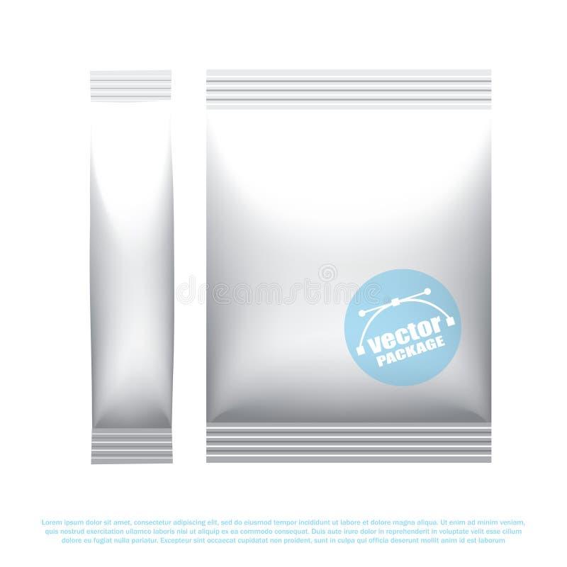 Déjouez l'emballage de bâton pour la boisson, le sel et les épices secs Paquet en plastique de casse-croûte Faux calibre haut de  illustration de vecteur