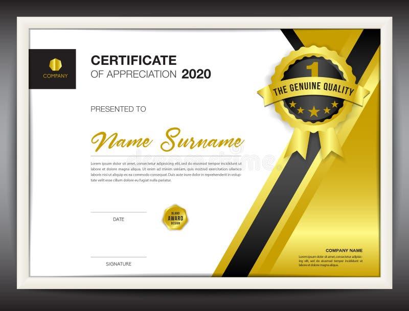 Délivrez un certificat l'illustration de vecteur de calibre, disposition de diplôme dans a4 illustration stock