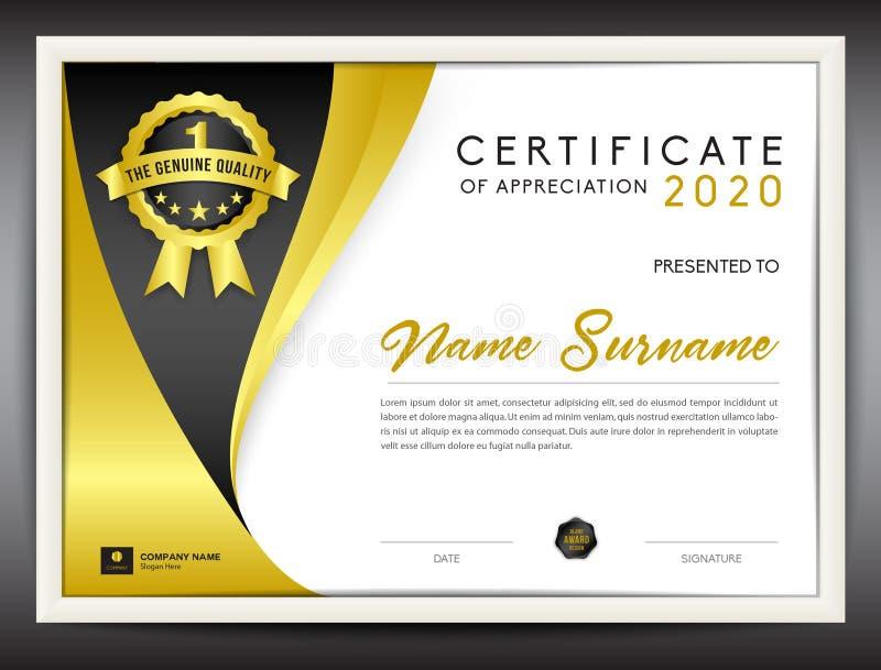 Délivrez un certificat l'illustration de vecteur de calibre, disposition de diplôme dans a4 illustration de vecteur
