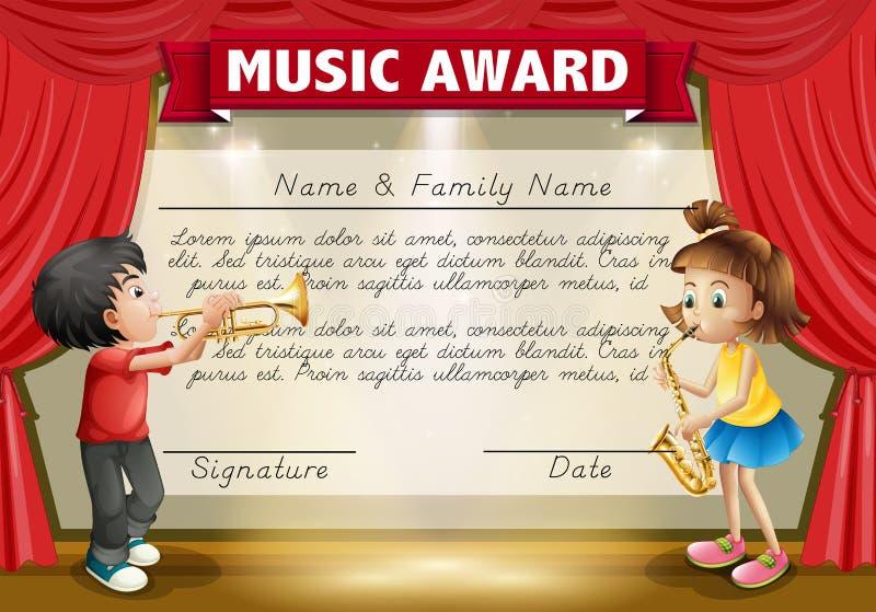 Délivrez un certificat le calibre avec des enfants jouant la musique sur l'étape illustration libre de droits
