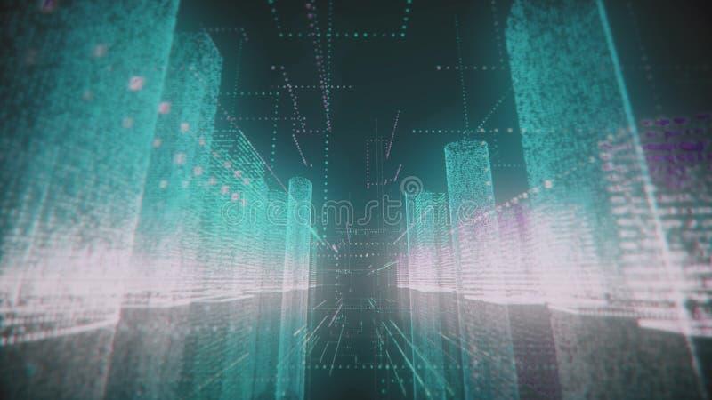 Déménager à travers un azur lumineux et un modèle blanc de ville numérique abstraite contenant des nombres et des grilles sur le  illustration stock