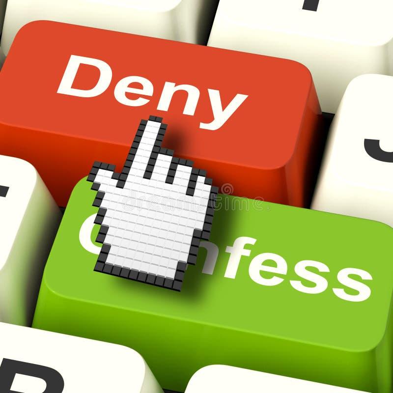Démenti Deny Keys Shows Guilt Or niant la culpabilité en ligne illustration stock