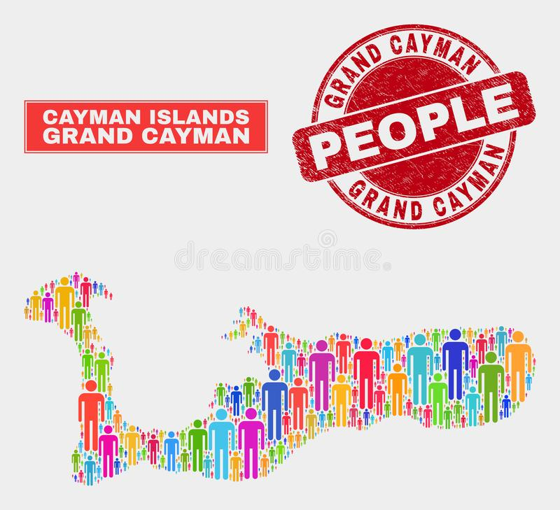 Démographie de population de carte d'île de Grand Cayman et timbre sale illustration libre de droits