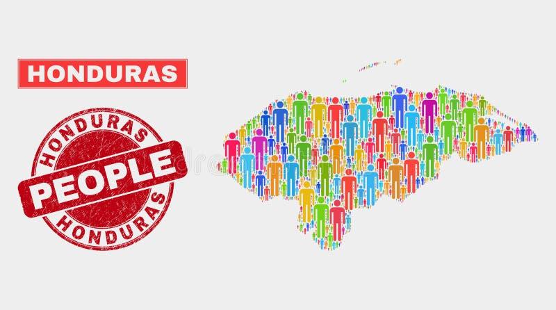 Démographie de population de carte du Honduras et timbre rayé illustration de vecteur