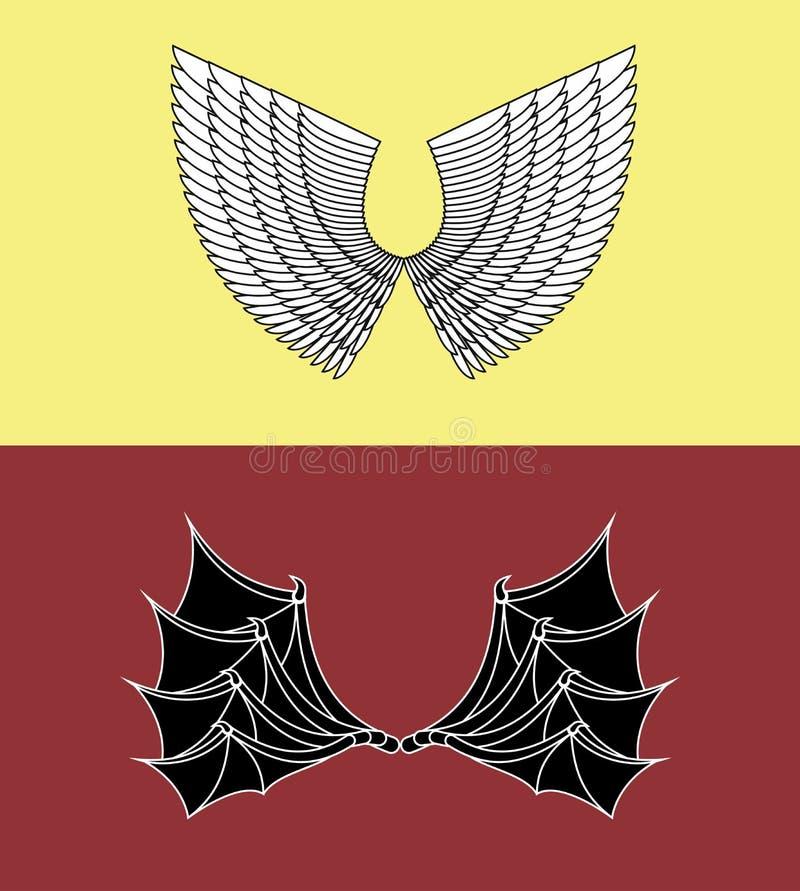 Démon et Angel Wings illustration de vecteur