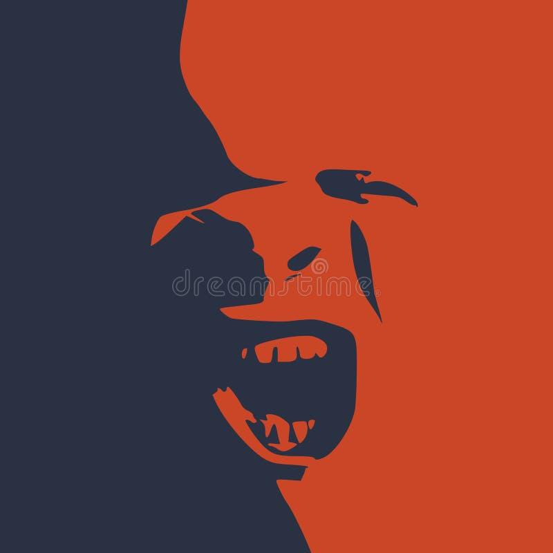 Démon ou monstre criant illustration de vecteur
