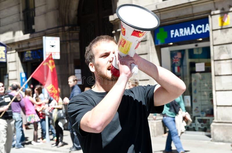 Démonstration 2012, Barcelone, Espagne de jour de mai photo libre de droits