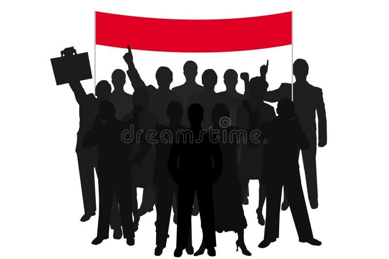 Démonstration de gens de silhouette de groupe illustration de vecteur