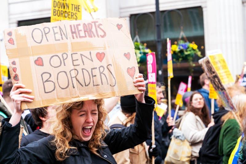 Démonstration de jour d'antiracisme de l'ONU à Londres photographie stock libre de droits