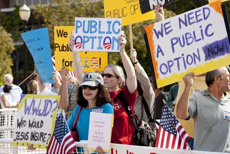 Démonstration de réforme de santé à l'UCLA photos libres de droits
