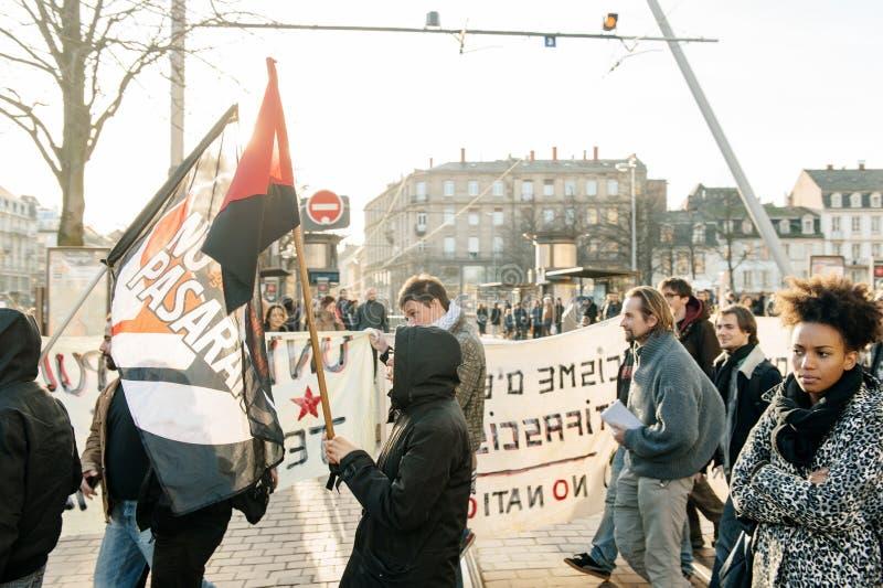 Démonstration française contre l'état du gouvernement d'urgence photographie stock libre de droits