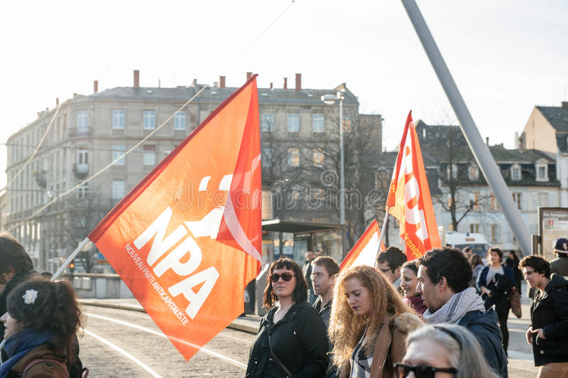 Démonstration française contre l'état du gouvernement d'urgence images stock