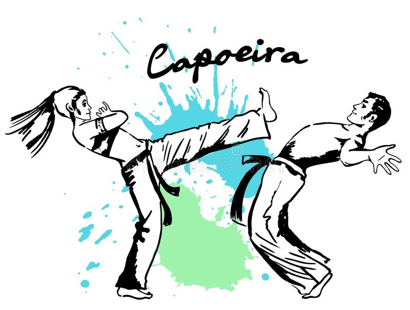 Démonstrations de deux combattants de l'art martial national brésilien Capoeira illustration libre de droits