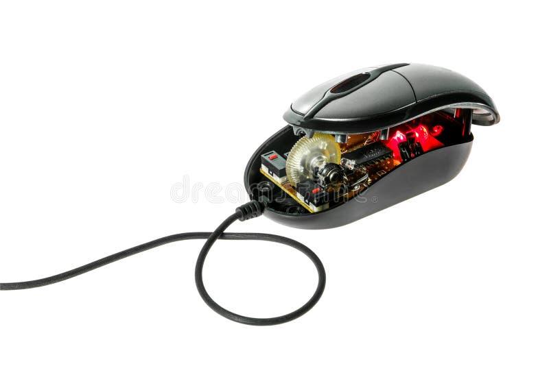 Démontez la souris optique d'ordinateur. photos libres de droits