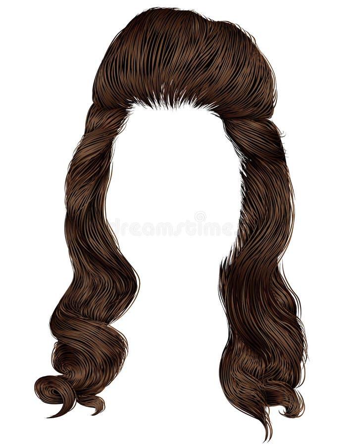 Dénommer élevé de cheveux de femmes à la mode Style de beauté de mode 3d réaliste rétro brune de brun foncé illustration libre de droits