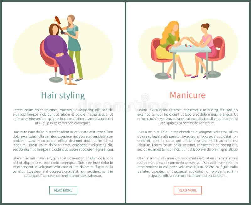 Dénommer de cheveux et traitement de manucure clouent le polonais illustration de vecteur