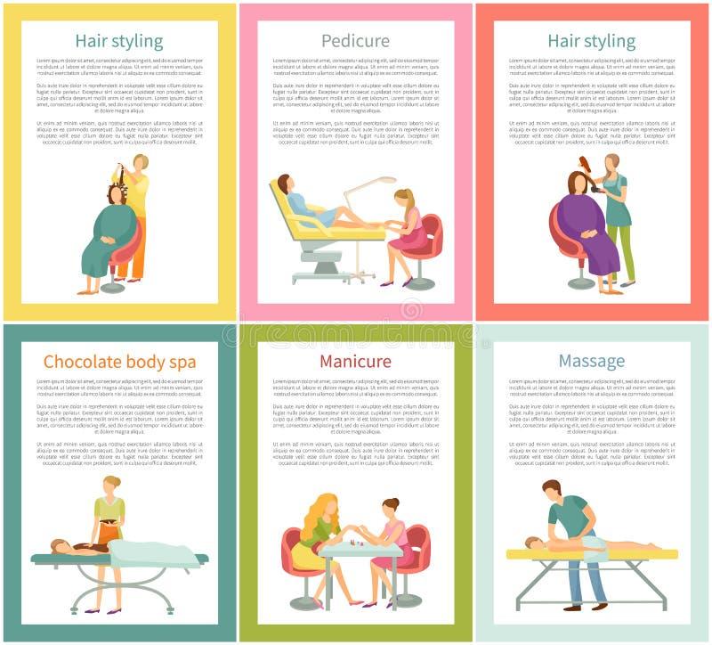 Dénommer de cheveux et vecteur d'affiches de soin d'ongle de pédicurie illustration de vecteur