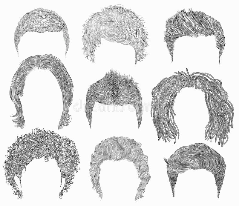 Dénommer différent réglé de poils d'homme styles de mode de beauté Graphiques de main coupez le coll de perruques de masque illustration de vecteur