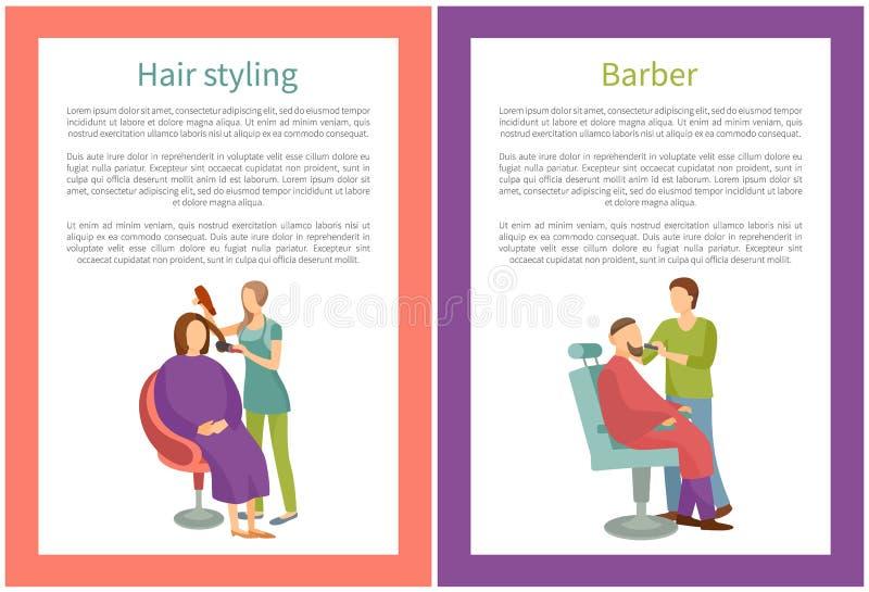 Dénommer et Barber Posters de cheveux avec le vecteur des textes illustration de vecteur